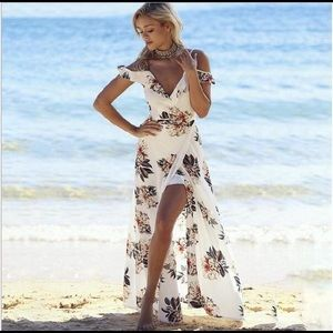 Dresses - Floral print ruffles long dress